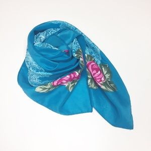 Vintage floral turquoise scarf. pink white flowers